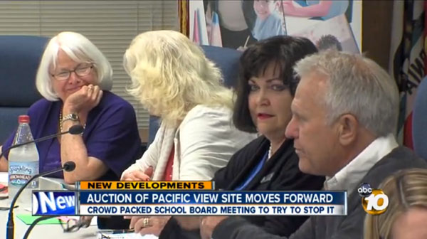Click here to watch 10 News' coverage of what may be the final EUSD board meeting before the Pacific View site is auctioned off on March 25. Trustee Maureen Muir (second from right) attempted to get the board to reconsider the auction, but her effort was quickly squelched by board president Marla Stritch (not pictured).