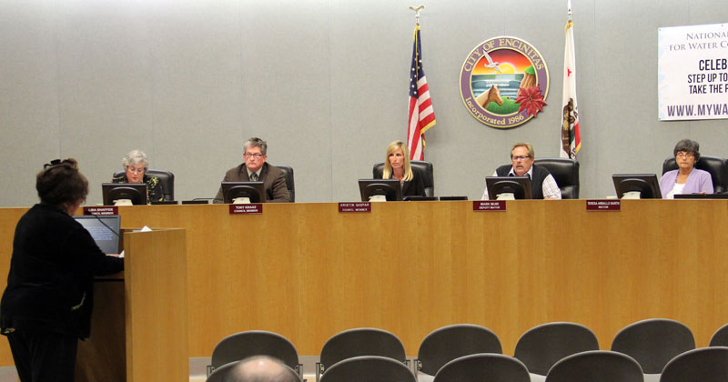 Encinitas City Councilmembers (l. to r.) Lisa Shaffer, Tony Kranz, Kristin Gaspar, Deputy Mayor Mark Muir and Mayor Teresa Barth listened to the concerns of local resident Lynn Marr (far left) at the beginning of their April 16 special session to discuss the conditions of the Pacific View sale.