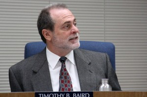Encinitas Union School District Superintendent Dr. Timothy Baird speaks to the Board of Trustees on Tuesday, April 29, explaining his recommendation that they vote to formally cancel the imminent auction of the Pacific View property.