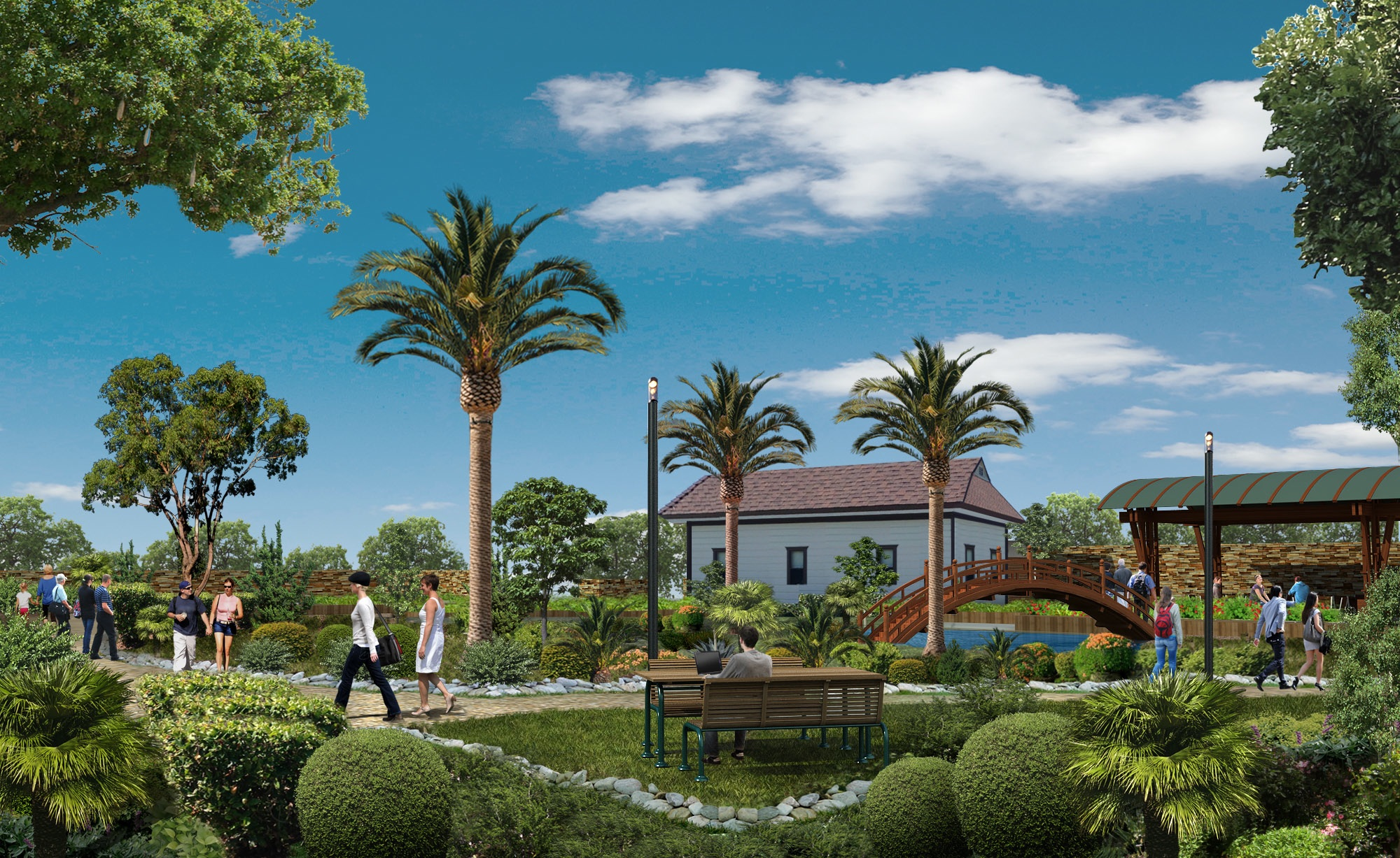 An artist's somewhat fanciful imagining of part of the proposed Pacific View campus, based on the Encinitas Arts, Culture and Ecology Alliance's original Letter of Intent to the city. Additional artistic interpretations can be seen here and here.