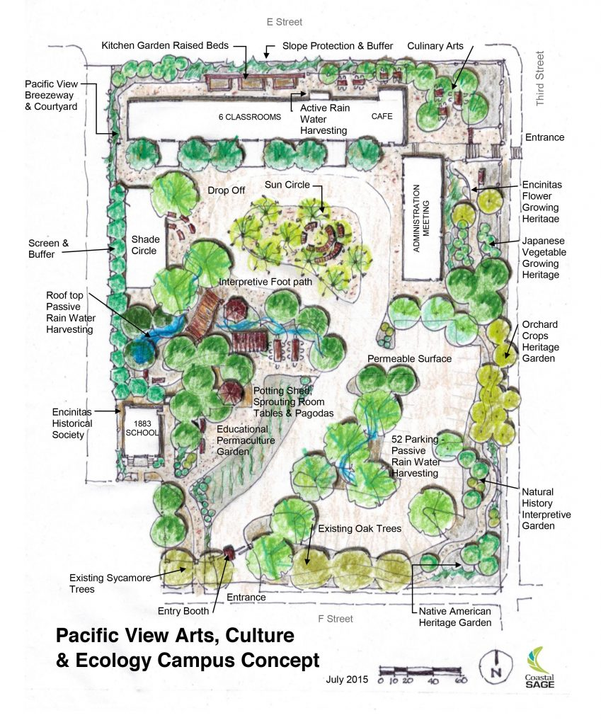 A July Encinitas Arts, Culture and Ecology Alliance rendering of its vision for the Pacific View property. (Click to enlarge.)