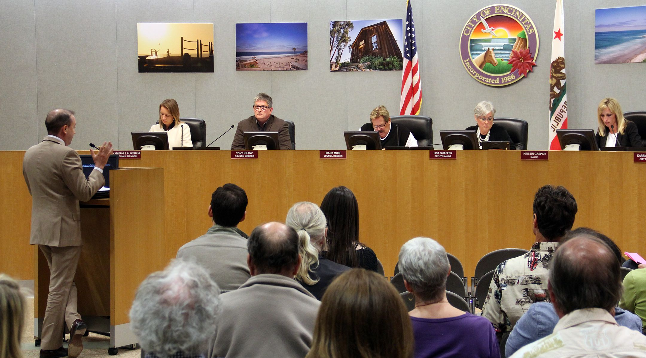 "Attorney Felix Tinkov (l.) addresses the City Council on February 24 about the changes he and his client Don McPherson would like to see in the ""Right of Entry"" agreement between the city and the Encinitas Arts, Culture and Ecology Alliance."