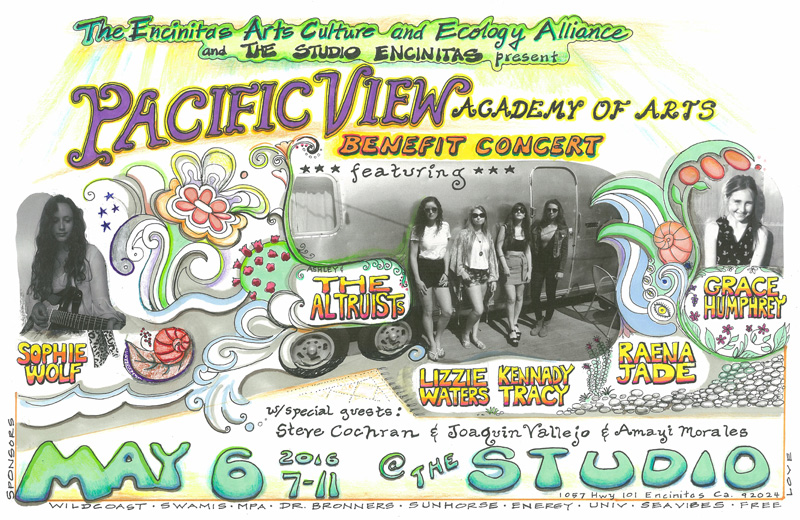 A benefit concert for the newly named Pacific View Academy of Arts will be held this Monday at 7:00 p.m. at The Studio, 1057 Hwy 101 in Encinitas.
